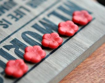 Cherry Ripe - Czech Glass Beads, Opaque Matte Red, Czech Glass, Flat Five Petal, Daisy Flowers 14mm - Pc 6
