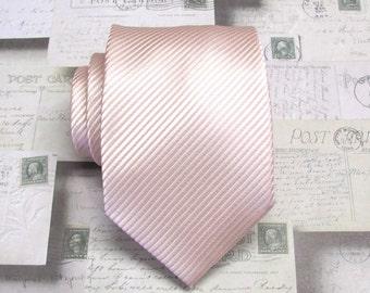 Petal Pink Ties. Mens Tie. Pale Pink Stripes Necktie With Matching Pocket Square Option