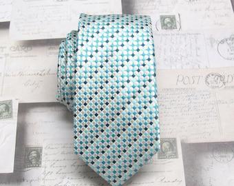 Mens Ties Turquoise Cream Dot Mens Skinny Neckties. Wedding Ties