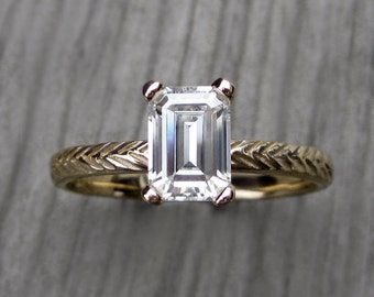 Emerald Moissanite Feather Engagement Ring: Yellow, White, or Rose Gold; 1ct Forever Brilliant ™