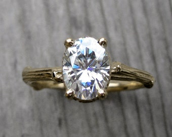 Oval Moissanite Branch Engagement Ring: Yellow, White, Rose Gold; 1.5ct Forever Brilliant ™