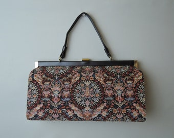 Large Vintage Tapestry Purse by L&M, rich colors handbag - 7x13 inches 1960s