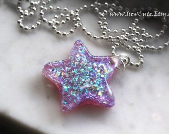 Orchid Resin Star Necklace Glitter Galaxy Quest Resin Jewelry Chain Included, Handcrafted Resin Star Necklace, Cute Resin by isewcute