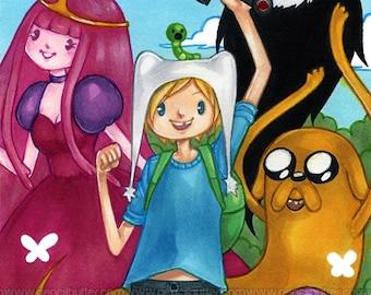 MINI PRINT - Adventure Time  (4x6 inch anime/manga style art print)