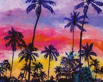 Kauai Tropical Coconut Trees - Reverse Acrylic Paintings - Kauai Hawaii Hawaiian Original Art - Sunset Palm Trees Art - Tropical Sunrise Art