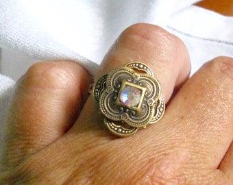 osO JULIET Oso swarovski stamped brass adjustable ring