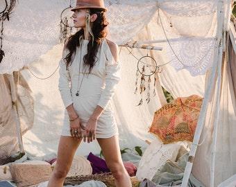 Sale - WASABI DRESS SWEATER - Organic Long sleeve Boho Bohemian Hippie Urban Yoga Pixie Faery Fairy Burning man Goa Gypsy - Off white Cream