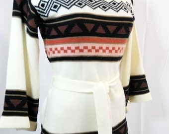 vintage | 60s hippie bohemian bell sleeve belted sweater top s m