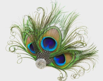 Feather Hair Clip - Peacock Fascinator - Bridesmaids Hair Accessory - Silver Headpiece - Girls Dance Costume