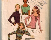 70's Scoop Neck Blouse Top Vintage Sewing Pattern for Sweater Top Turtle Neck Scoop Neckline Close Fitting Butterick 6350 Size 10 Bust 32.5