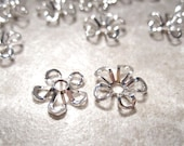 On Sale 20pcs Tassel Caps, Bright Silver Flower Filigree Bead Caps, End Caps 8x2.5mm Bright Silver plated Brass Bead Caps, BC 110