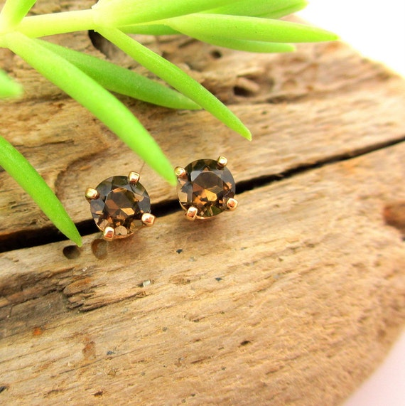 Smoky Quartz Earrings in Gold, Silver, Platinum, or Palladium with Genuine Gems, 4mm - Free Gift Wrapping