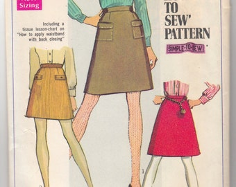 1970's Vintage Sewing Pattern Ladies' How To Sew Skirt Simplicity 7779 27 Waist- Free Pattern Grading E-book Included