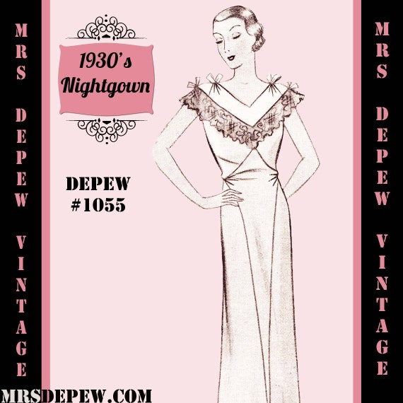 Vintage Sewing Pattern 1930's French Night Gown or Slip in Any Size - PLUS Size Included - Depew 1055 -INSTANT DOWNLOAD-