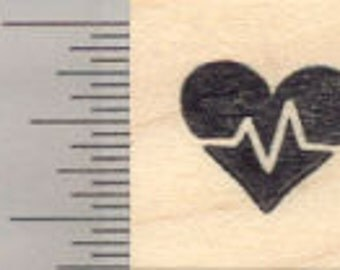 Tiny Cardio Rubber Stamp, Great for Fitness Log., .5 inch Width A28514 Wood Mounted