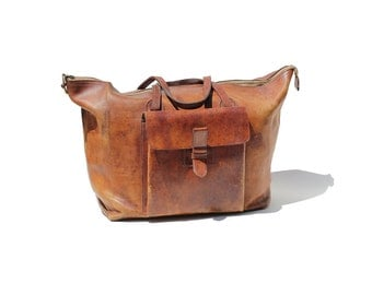 Vintage Brown Heavy Leather Travel Bag / Leather weekend Travel Bag