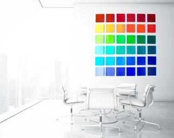 Colorful Rainbow 'Color Blocks' | original geometric painted wood wall sculpture | 3D wall art | rosemary pierce modern art