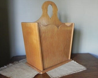 Vintage solid wood wooden magazine file rack holder - mid century arts and crafts craftsman style