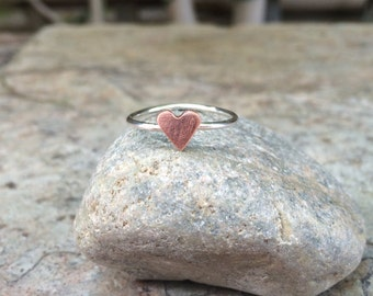 Tiny Copper Heart and Sterling Silver Ring