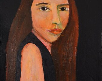 Acrylic Portrait Painting. Super Model. 8x8 Original Canvas Art. Ready to Ship. Gift for Her. Bedroom Wall Art. Living Room Decor