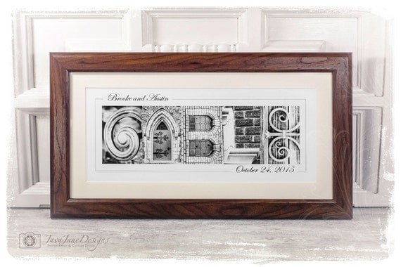 Personalized Name Frame | Walnut Wood Frame | Alphabet Letter Photos Custom Framed and Matted 10x20, B&W Prints