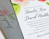 NEW Amelia Watercolor Rose Floral Wedding Invitation Sample - Beautiful Script, Pink and Red Watercolour Flowers