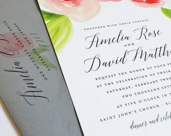 Amelia Watercolor Floral Spring Wedding Invitation Sample - Beautiful Script, Pink and Red Watercolour Roses, Botanical Flowers