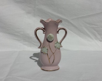 Pink Vase with White Flowers 1950s