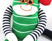 Sock Monkey TYSON : green, red, white, blue, stripe, handmade plush sock toy softie.