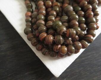 round lampwork beads opaque orange olive green glass beads  striped swirl irregular organic Indonesian beads - 6 to 9mm / 20 pcs -3BBGL40-1