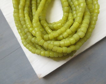 Small yellow glass beads yellow seed beads irregular rustic spacer barrel tube Modern Indo-pacific  - 3 to 6 mm /22 in strand  -  3bbgl1-79