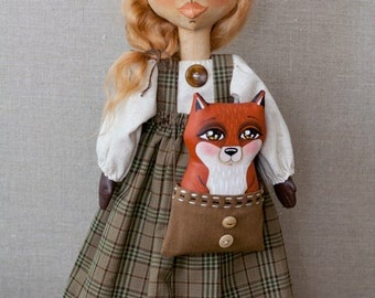 Best Friends - Sweet Hand-Painted Folk Art Red Fox Doll in Woodsy Brown and Green Plaid - OOAK Soft Sculpture Folk Art