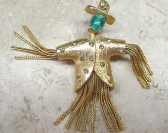 Vintage 1960's Signed Pauline Rader Brooch Couture Costume Jewelry Scarecrow Pin Gold Tone with Tassels