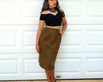 SALE 1980s Vintage Gold Pencil Skirt Black Gold Metallic Striped High Waist Pencil Skirt with Slit Midi Skirt Size Medium