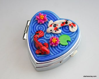 Koi Fish Heart Pill Box in Fimo Filigree Valentine's Day Gift