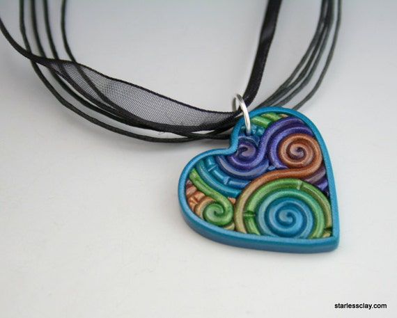 Heart Pendant in Peacock Colors Polymer Clay Filigree Valentine's Day Gift