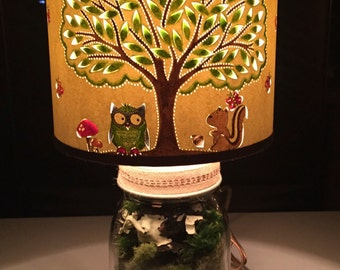 Whimsical Nursery Owl & Squirrel Hand Painted Shade with Vintage Mason Jar Lamp