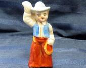 Cowboy Miniature Antique Porcelain Figurine/ Country Western MIJ