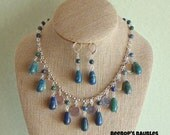 Lapis Chrysocolla Teardrop & Silver Disk Dangling Bib Style Necklace with Earrings