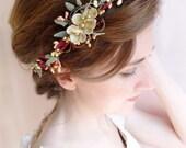 burgundy headband, burgundy and gold, bridal hair piece, marsala wedding, burgundy wedding, gold bridal headband, champagne headpiece