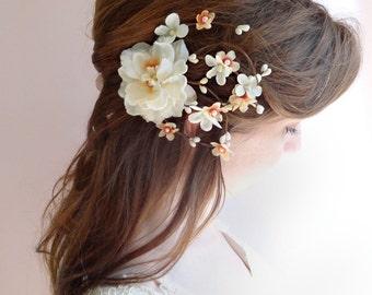 wedding hair comb, bridal headpiece, orange hair flower, peach flower, fall wedding hair accessories, floral hair clip, ivory hair piece