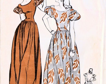 1940s Butterick 3886 Vintage Sewing Pattern Misses Formal Gown, Evening Gown Size 16 Bust 34