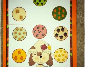 Fall Puppy Counting File Folder Game Numbers 1~10 Kindergarten Preschool Math
