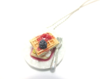 Berry Butter Waffle Necklace, Miniature Food Jewelry, Polymer Clay Food Necklace