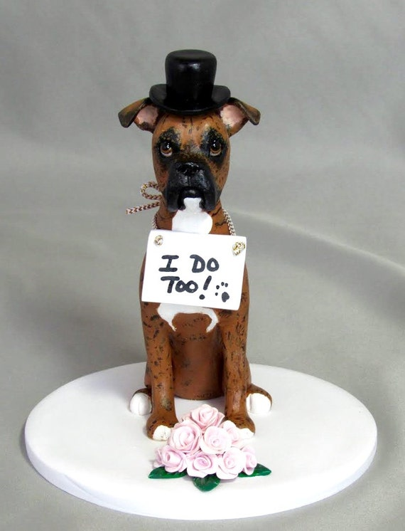 wedding cake topper with boxer dog items similar to custom made wedding cake topper clay 26654