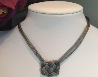 Grey Silvery Satinique Celtic knot cord Necklace With Free Shipping to Canada & USA