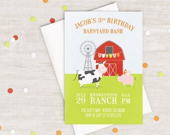 Pig and Cow Barnyard Party Invitation
