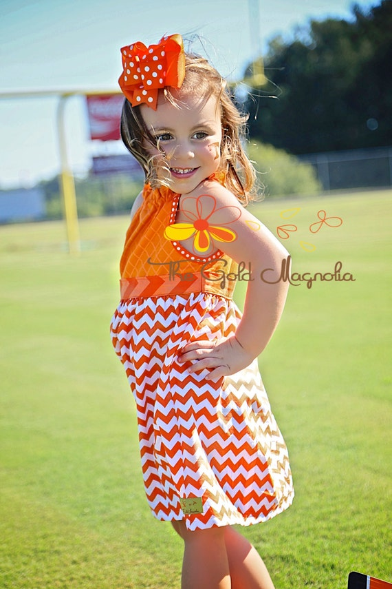Girls Texas Longhorns Dress - University of Tennessee Dress - Orange and White Dress - Football Dress