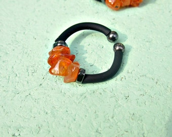 Orange Carnelian Beaded Adjustable Memory Wire Wrap Ring with Comfort Band: Sunspot