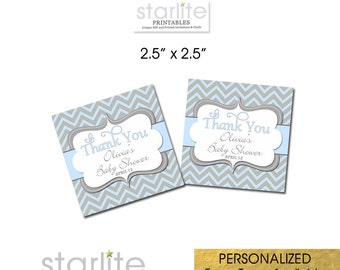 Boy Baby Shower Favor Tags, Cake Pop Tags, Cookie Tags, Blue Gray Chevron, 2.5 inch Square  - Personalized Digital or Printed Tags